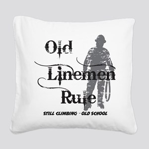 old linemen rule 2 Square Canvas Pillow