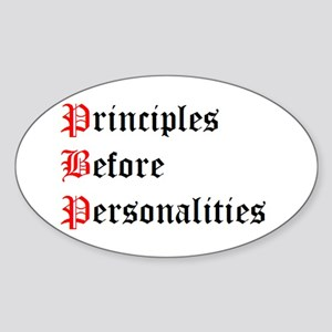 Principles Before Personalities Oval Sticker