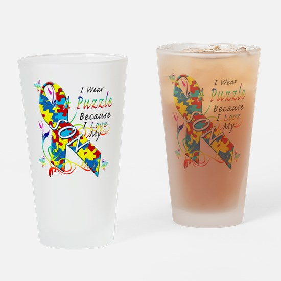 I Wear A Puzzle Because I Love My S Drinking Glass