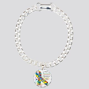 I Wear A Puzzle Because  Charm Bracelet, One Charm