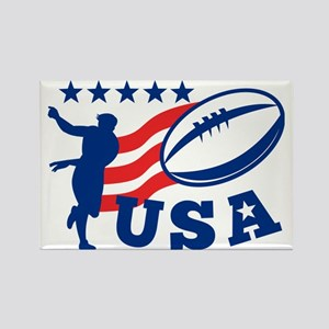 American USA Rugby Player Ball Rectangle Magnet