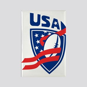 USA American Rugby Ball Shield Rectangle Magnet