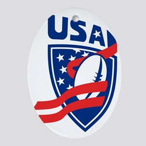 USA American Rugby Ball Shield Oval Ornament