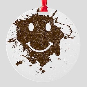 MudSmiley_shirt Round Ornament