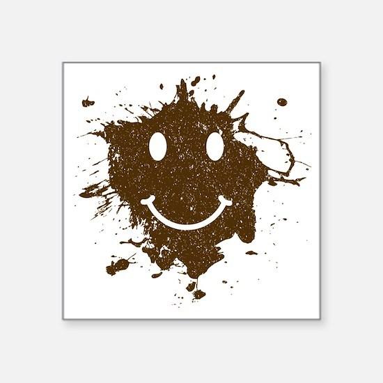 "MudSmiley_product Square Sticker 3"" x 3"""