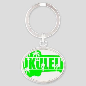 hawaiian ukulele uke palm tree desig Oval Keychain