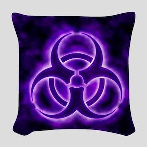 glowingBiohazard3Purple Woven Throw Pillow