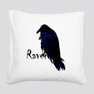 Raven on Raven Square Canvas Pillow