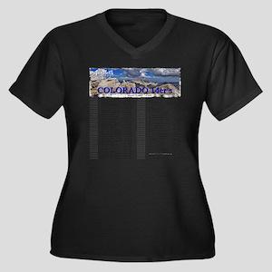 CO 14ers Lis Women's Plus Size Dark V-Neck T-Shirt
