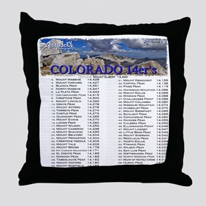 CO 14ers List T-Shirt NO BKGRND Throw Pillow