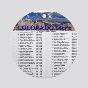 CO 14ers List T-Shirt NO BKGRND Round Ornament
