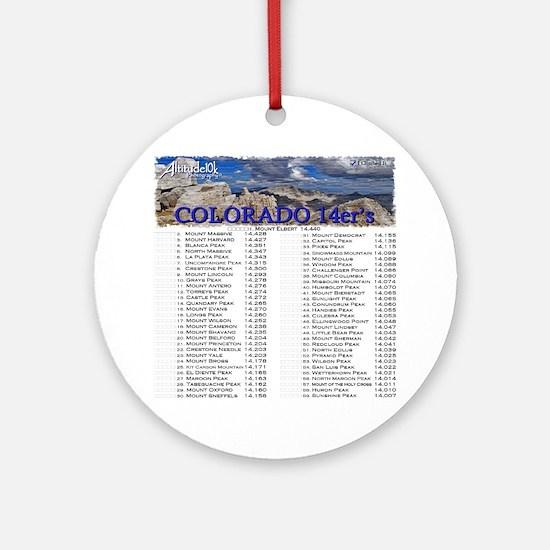 CO 14ers List T-Shirt NO BKGRND Round Ornament