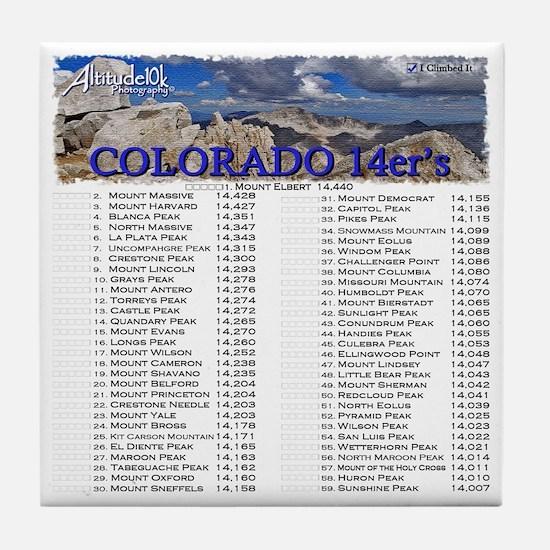 CO 14ers List T-Shirt NO BKGRND Tile Coaster