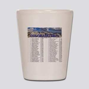 CO 14ers List T-Shirt NO BKGRND Shot Glass