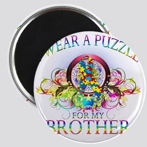 I Wear A Puzzle for my Brother (floral) Magnet