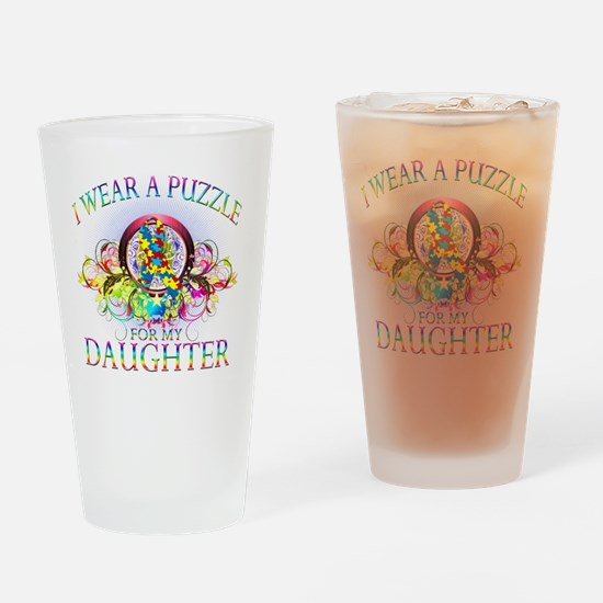 I Wear A Puzzle for my Daughter (fl Drinking Glass
