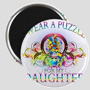 I Wear A Puzzle for my Daughter (floral) Magnet