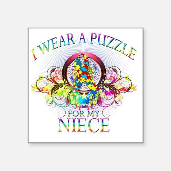 """I Wear A Puzzle for my Niec Square Sticker 3"""" x 3"""""""