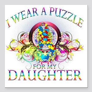 """I Wear A Puzzle for my D Square Car Magnet 3"""" x 3"""""""
