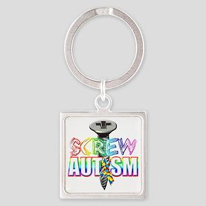 Screw Autism Square Keychain