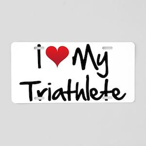 I-heart-my-triathlete-hando Aluminum License Plate