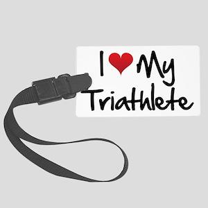 I-heart-my-triathlete-handofsean Large Luggage Tag