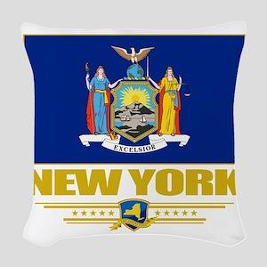 New York (Flag 10) Woven Throw Pillow