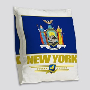 New York (Flag 10) Burlap Throw Pillow