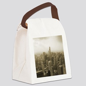 Chicago Skyline Sepia Canvas Lunch Bag