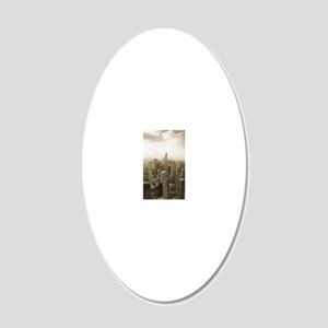 Chicago Skyline Sepia 20x12 Oval Wall Decal
