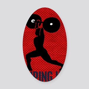 pumping_iron_78_ipad_case_red Oval Car Magnet