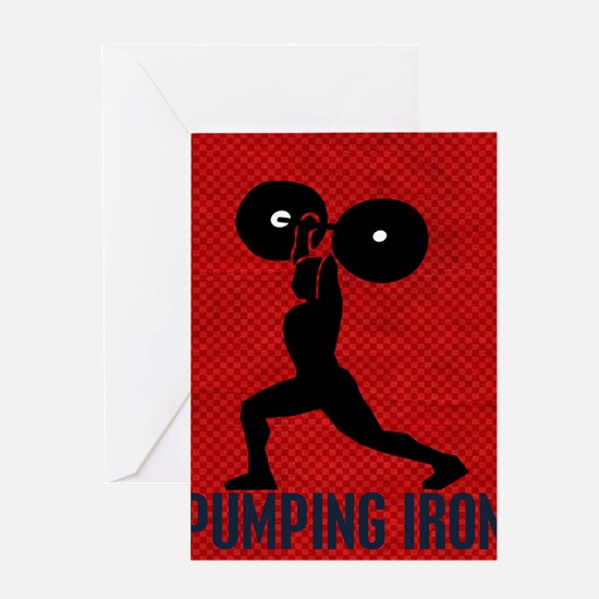 pumping_iron_78_ipad_case_red Greeting Card