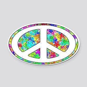 paece-symbol-groovy-flowers Oval Car Magnet