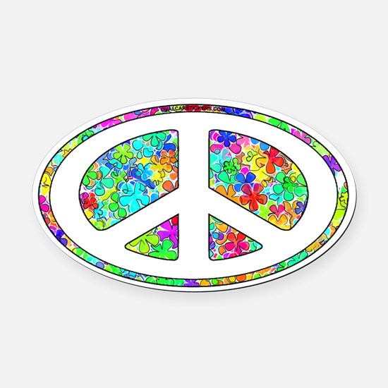 paece-symbol-groovy-flowers Oval Car Magnet