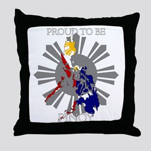proud-pinoy-dark-sun Throw Pillow