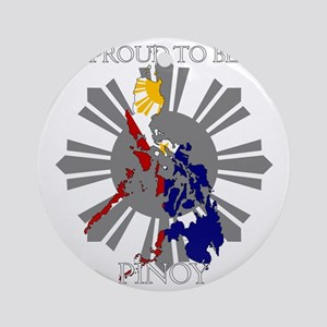 proud-pinoy-dark-sun Round Ornament