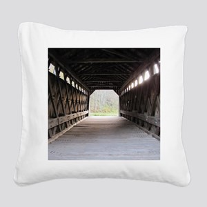 wooden bridge squared Square Canvas Pillow