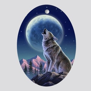 WOLF Oval Ornament