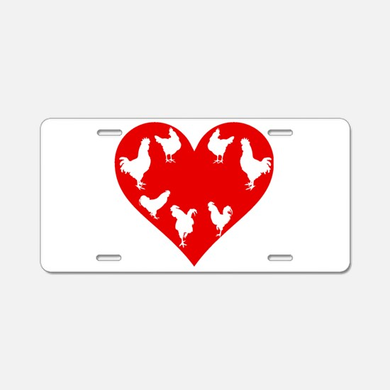 CHICKEN AND HEART Aluminum License Plate