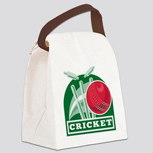 cricket sports ball wicket Canvas Lunch Bag