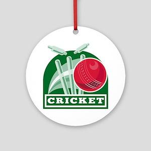 cricket sports ball wicket Round Ornament