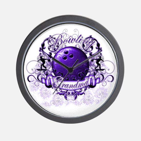 BowlingGrandma (purple) Wall Clock