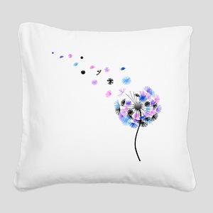 Dandelion rainbow Square Canvas Pillow