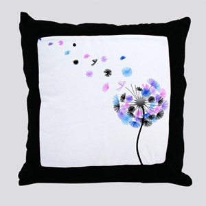 Dandelion rainbow Throw Pillow