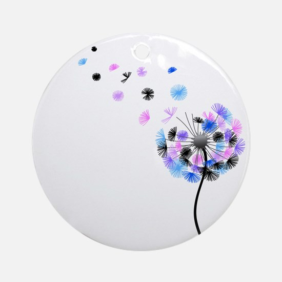 Dandelion rainbow Round Ornament