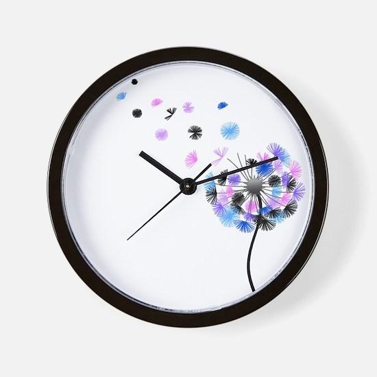Dandelion rainbow Wall Clock