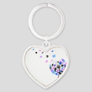 Dandelion rainbow Heart Keychain
