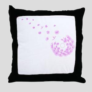 Dandelion pink Throw Pillow