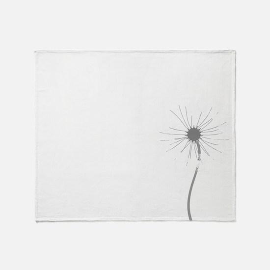 Dandelion whitegray Throw Blanket