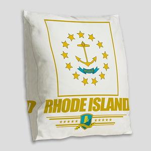 Rhode Island (Flag 10) Burlap Throw Pillow